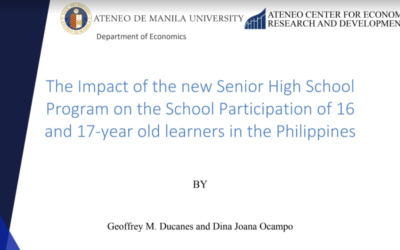 The Impact of the new Senior High School Program on the School Participation of 16 and 17-year old learners in the Philippines